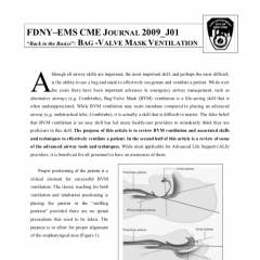 "FDNY–EMS CME JOURNAL 2009_J01 ""Back to the Basics"": Bag-Valve Mask Ventilation"