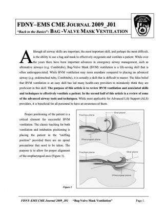 "Back to the Basics"": Bag -Valve Mask Ventilation"